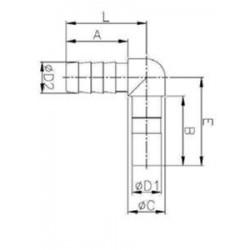 Slang till snabbkoppling - HLJB-I - FluidFit HLJB övergångsvinkel från nippel till snabbkopplingshane (tum)