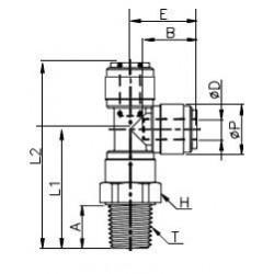 T-koppling  - HRST-I - FluidFit HRST snabbkoppling vridbar T-koppling med utvändig sidoplacerad gänga NPTF (tum)